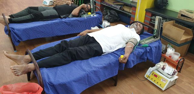 Blood donation camp organized by GSS Yogic Research Foundation and Rotary Mysore